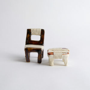 (50) A set of brown chair & stool w thread SMALL