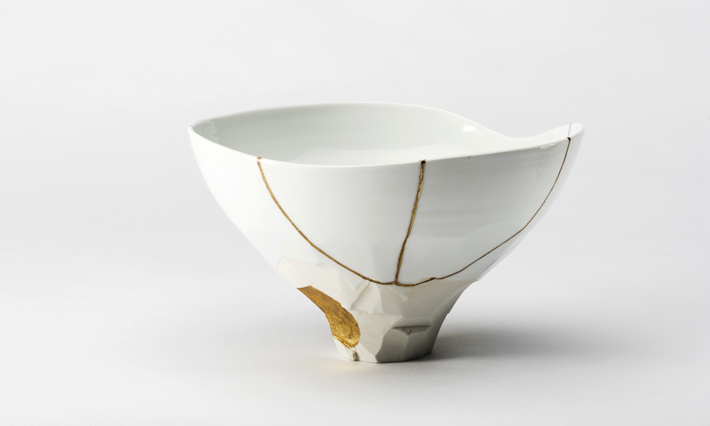 kintsugi blue and white bowl