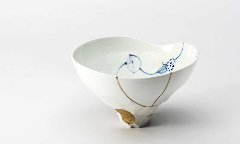 kintsugi bowl blue and white beaver galleries2